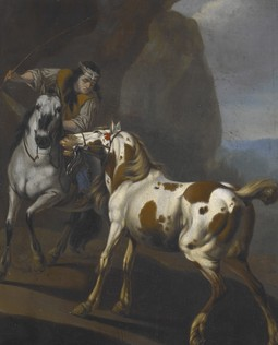 Indian taming a horse