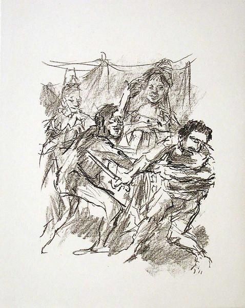 Edgar and Edmund Fight, (Act V, Scene III)