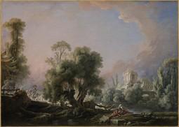 Idyllic Landscape with Woman Fishing