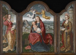 Triptych with the Virgin and Child, St. Barbara, and St. Catherine