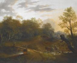 Pony Cart Crossing a Woodland Brook