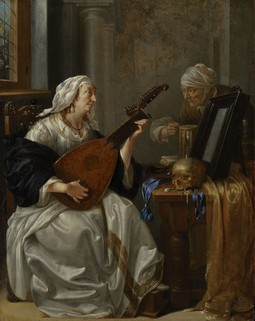 Woman Playing a Theorbo