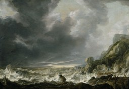 Ship in Distress off a Rocky Coast