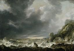 Ship in Distress off a Rocky Coast