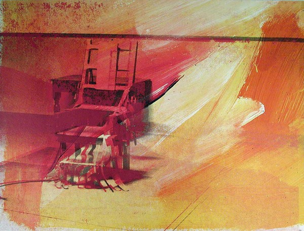 Electric Chair (magenta, red, muted yellow, orange, black, white)