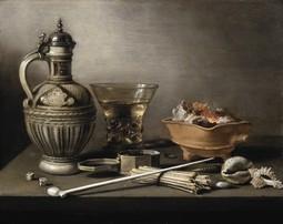 Still Life with a Stoneware Jug, Berkemeyer, and Smoking Utensils